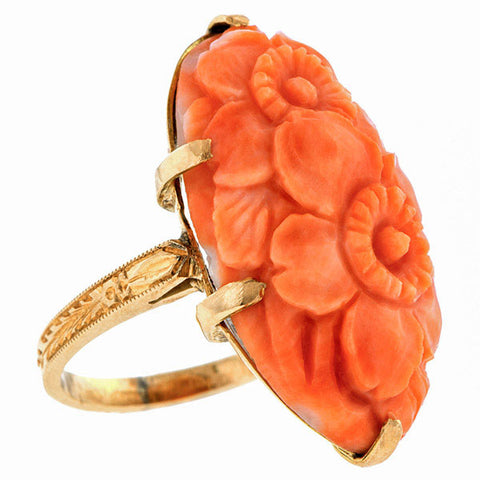 Vintage Carved Coral Cameo Ring