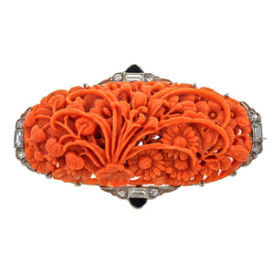 Art Deco Carved Coral, Black Onyx & Diamond Brooch
