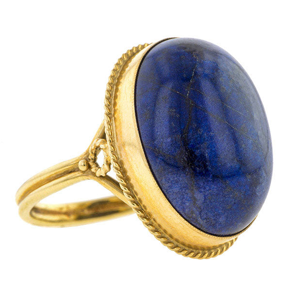 Vintage Oval Cabochon Lapis Ring