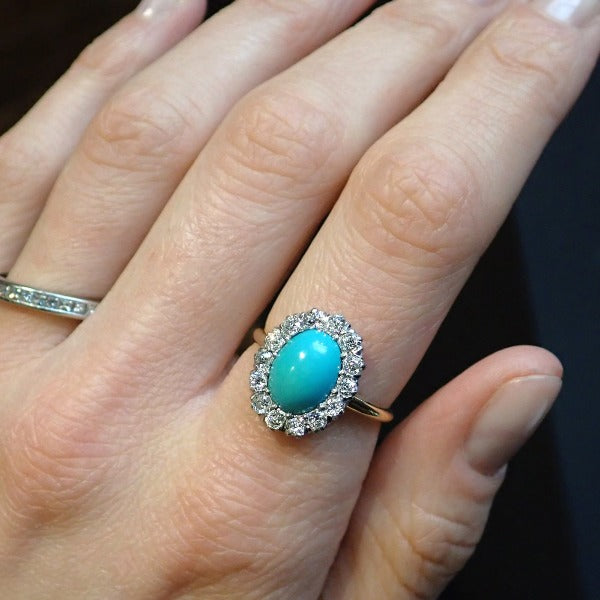 Antique Victorian Turquoise & Diamond Ring from Doyle & Doyle antique jewelry