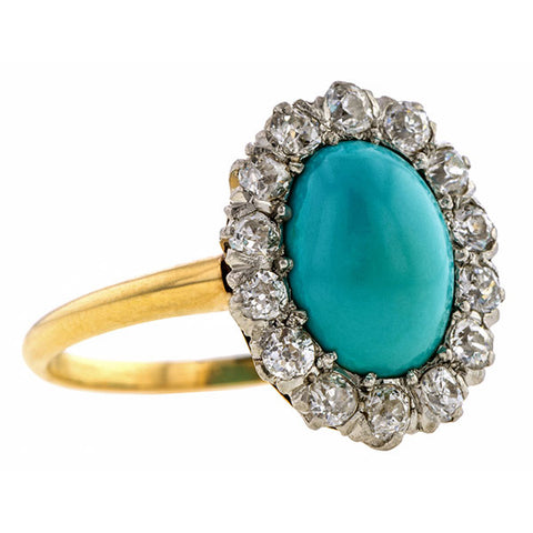 Antique Victorian Turquoise & Diamond Ring