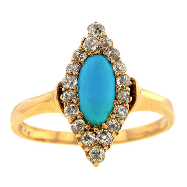 Antique Turquoise & Diamond Ring