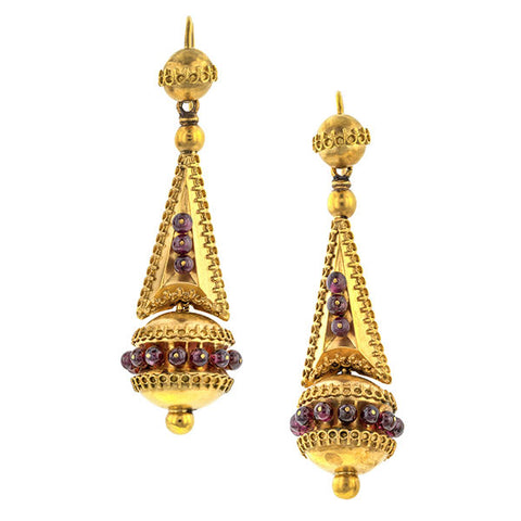 Victorian Etruscan Garnet Drop Earrings