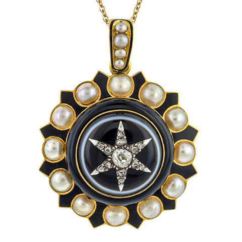 Victorian Diamond, Bull's Eye Agate, Pearl & Enamel Locket