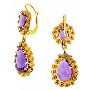 Victorian Cannetille Amethyst Drop Earrings
