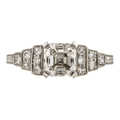 Vintage Engagement Ring, Asscher Cut 1.03