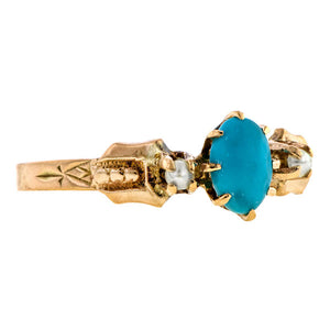 Antique Turquoise & Pearl Ring
