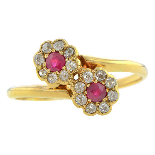 Antique Ruby & Diamond Bypass Ring