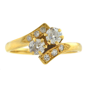 Vintage Toi & Moi Diamond Bypass Ring