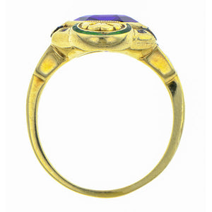 Art Deco Amethyst Enamel Ring