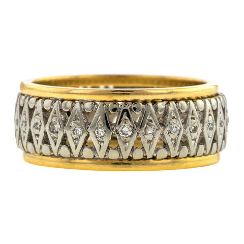 Vintage Diamond Wedding Band Ring, sold by Doyle & Doyle vintage and antique jewelry boutique.