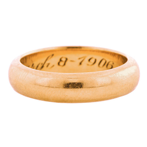 Antique Edwardian Wedding Band Ring, Rose Gold, sold by Doyle & Doyle an antique and vintage jewelry store.