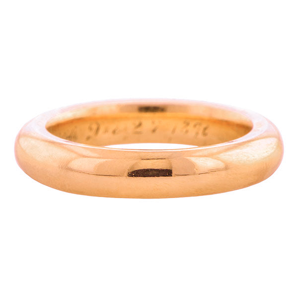 Victorian Rose Gold Wedding Band Ring sold by Doyle & Doyle vintage and antique jewelry boutique.