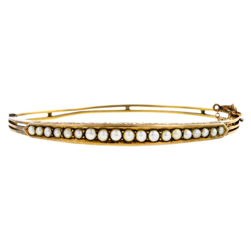 Antique Pearl Bangle Bracelet