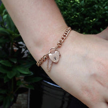 Victorian rose gold heart padlock bracelet from Doyle & Doyle