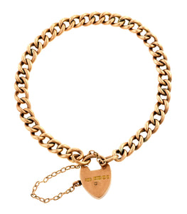 Victorian Curb Link Bracelet with Heart Lock Clasp