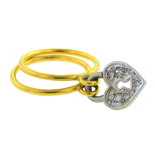 Estate Heart Charm Ring