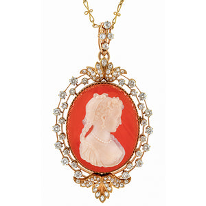 Victorian Cameo Earrings & Necklace Set