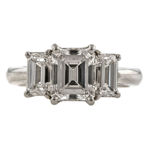 Three Stone Emerald Cut Ring, 1.71ct