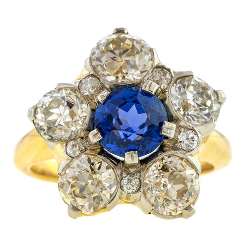 Antique Sapphire & Old European cut Diamond Ring