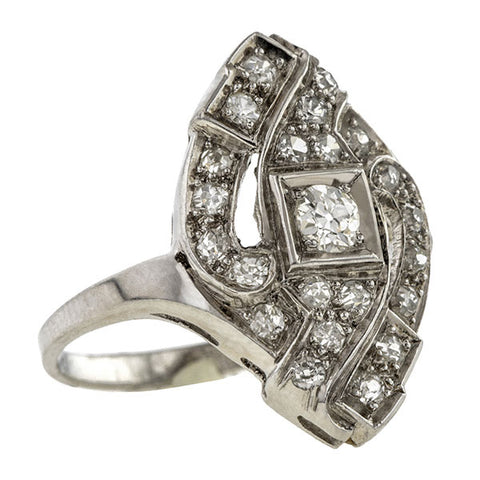 Vintage ring: a Platinum Old European Cut  Diamond Dinner Ring sold by Doyle & Doyle vintage and antique jewelry boutique.