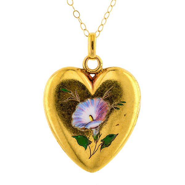Victorian Enamel Morning Glory Heart Pendant