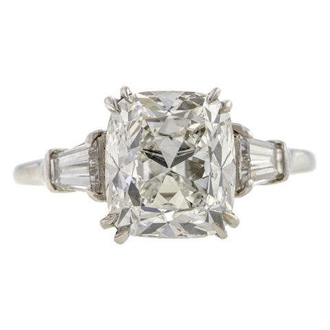 Vintage Engagement Ring, Cushion Cut Diamond 3.11ct
