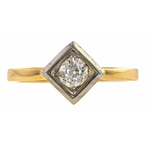 Vintage Engagement Ring, Old Euro 0.28ct