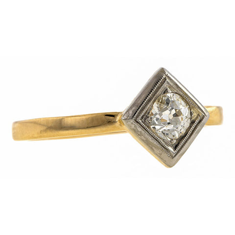 Vintage Solitaire Engagement Ring, Old European Cut Diamond 0.28ct, sold by Doyle & Doyle and antique and vintage jewelry store.