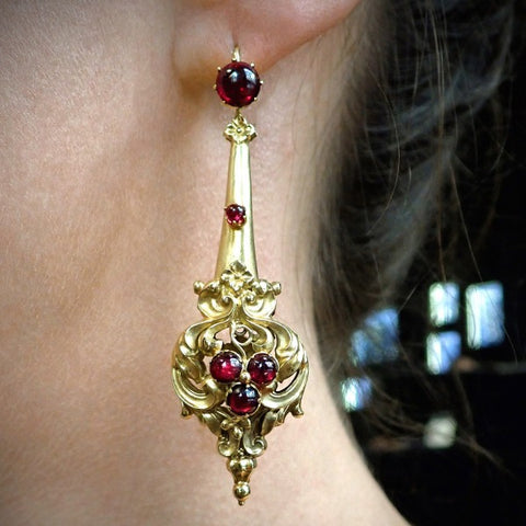 Georgian Garnet Repousse Earrings from Doyle & Doyle
