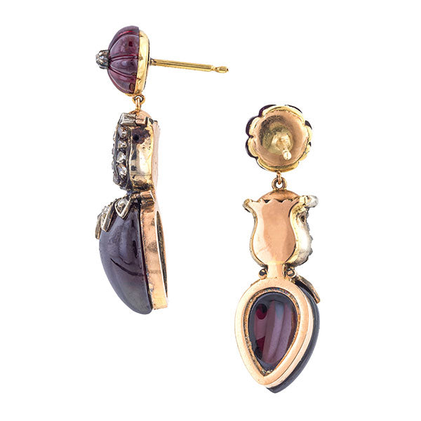 Victorian Garnet & Rose Cut Diamond Drop Earrings
