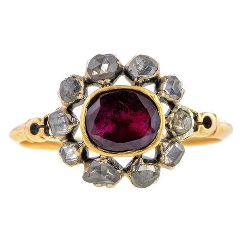 Georgian Garnet & Rose Cut Diamond Ring