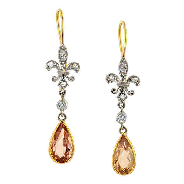 Antique Diamond Fleur de Lis & Topaz Earrings