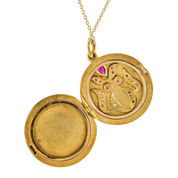 Antique Ruby, Emerald & Diamond Locket
