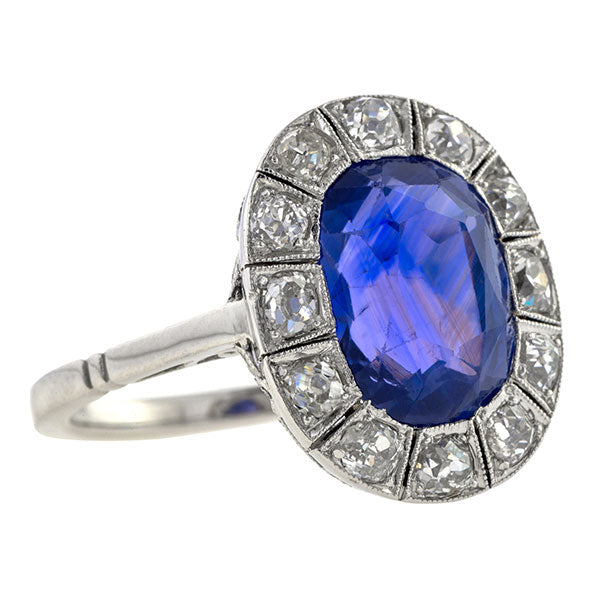 Art Deco Natural Sapphire & Diamond Ring