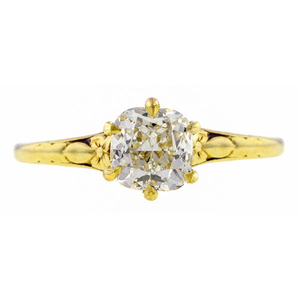 Antique Engagement Ring, Cushion cut diamond 1.05ct.