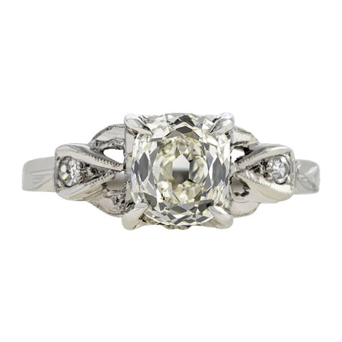 Art Deco Diamond Engagement Ring, Cushion cut 1.20ct.