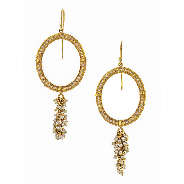 Estate Diamond & Pearl Drop Earrings