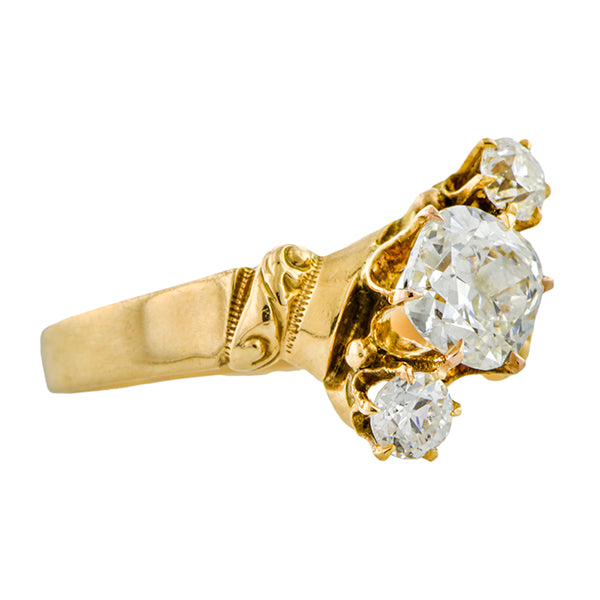 Antique Engagement Ring, Cushion cut 0.90ct.