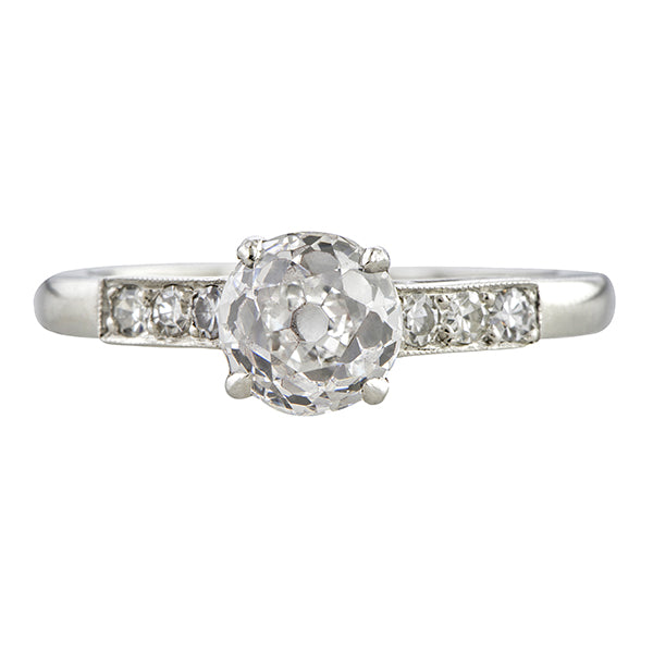Vintage Engagement Ring, Old European 1.13ct. sold by Doyle & Doyle and antique and vintage jewelry store.