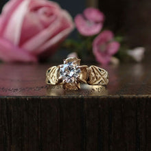 Victorian ring: a Yellow Gold Transition Round Brilliant Cut Diamond Engagement Ring sold by Doyle & Doyle vintage and antique jewelry boutique.