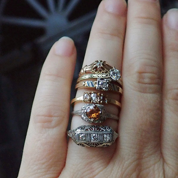 vintage diamond ring stack alternative bridal