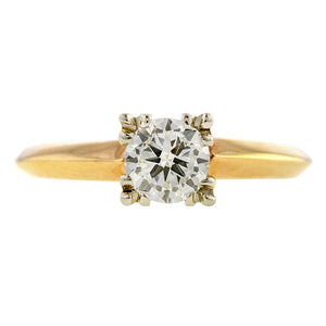 Vintage ring: a Yellow Gold Transition Round Brilliant Cut Diamond Solitaire Engagement Ring sold by Doyle & Doyle vintage and antique jewelry boutique.