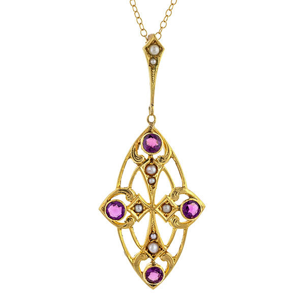 Amethyst & Pearl Lavalier Necklace
