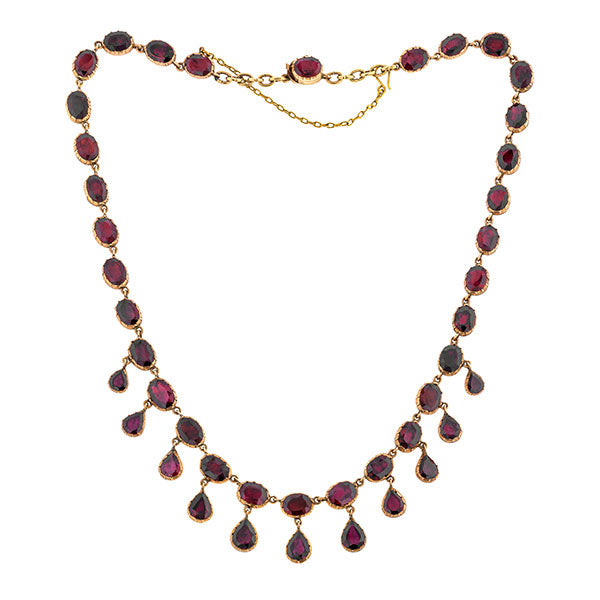 Georgian Flat Garnet Riviere Fringe Necklace