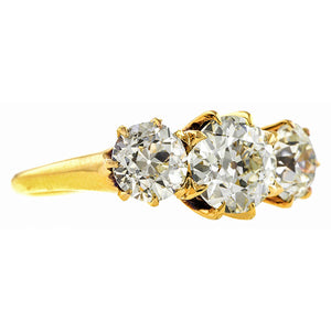 Antique Three Stone Diamond Engagement Ring, Old European cut, sold by Doyle & Doyle an antique & vintage jewelry store.