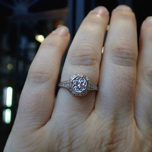 Art Deco Filigree Diamond Engagement Ring, RBC 0.33ct