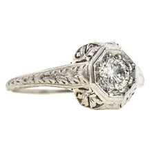 Art Deco Filigree Engagement Ring, RBC 0.33ct