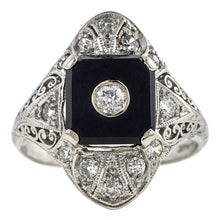 Art Deco Diamond & Onyx Filigree Dinner Ring