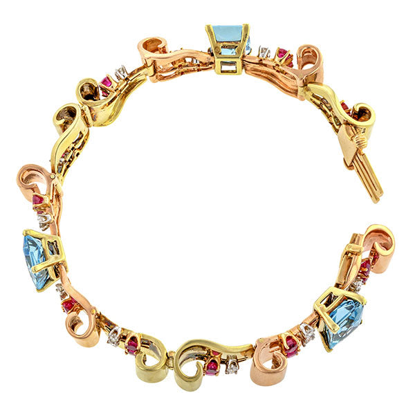 Retro Aquamarine, Ruby & Diamond Two-toned Bracelet